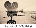 retro movie camera on abstract...   Shutterstock . vector #500198914