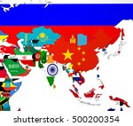 asia map   highly detailed 3d... | Shutterstock . vector #500200354