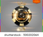 vip poker black and golden chip ... | Shutterstock .eps vector #500202064