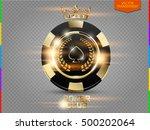 vip poker black and golden chip ... | Shutterstock .eps vector #500202064