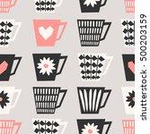 mid century style seamless...   Shutterstock .eps vector #500203159