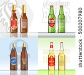 digital vector beer set mockup  ... | Shutterstock .eps vector #500207980