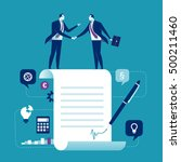 Agreement. Business people standing on a signed contract. Concept business vector illustration | Shutterstock vector #500211460