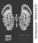 june  2017 calendar. line art... | Shutterstock .eps vector #500211670