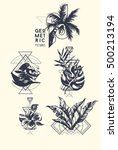 set of tattoo art. geometric... | Shutterstock .eps vector #500213194