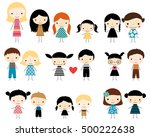 cute children stick figures  ... | Shutterstock .eps vector #500222638