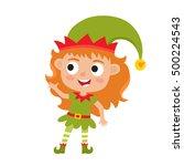 cute little christmas girl elf... | Shutterstock .eps vector #500224543