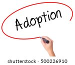 Small photo of Women Hand writing Adoption with black marker on visual screen. Isolated on white. Business, technology, internet concept.