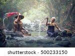 asian old women washing clothes ... | Shutterstock . vector #500233150