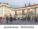 prague  october 15  the crowd... | Shutterstock . vector #500234056