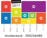 vector calendar november  2017... | Shutterstock .eps vector #500236480