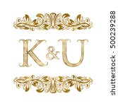 k and u vintage initials logo... | Shutterstock .eps vector #500239288