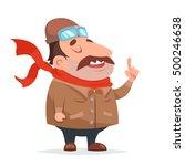 thick aviator pilot mascot... | Shutterstock .eps vector #500246638