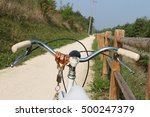 riding a bicycle in the park.... | Shutterstock . vector #500247379