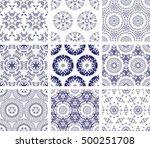 set of 9 monochrome geometrical ... | Shutterstock .eps vector #500251708