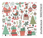 vector set of hand drawn... | Shutterstock .eps vector #500253610