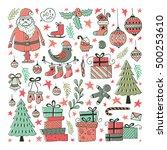 vector set of hand drawn... | Shutterstock .eps vector #500253610