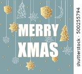 merry xmas luxury gold gold ... | Shutterstock .eps vector #500255794