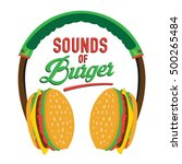 burger headphones illustration  ... | Shutterstock .eps vector #500265484