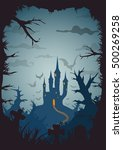 blue colored vector halloween... | Shutterstock .eps vector #500269258