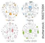 doodle line banners of healthy... | Shutterstock .eps vector #500271004