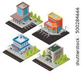 vector isometric buildings set... | Shutterstock .eps vector #500284666