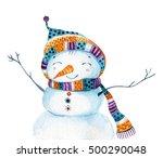 Watercolor Cartoon Snowman In...