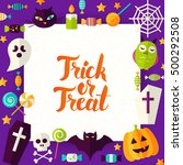 trick or treat paper template.... | Shutterstock .eps vector #500292508