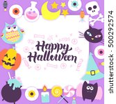 happy halloween paper template. ... | Shutterstock .eps vector #500292574