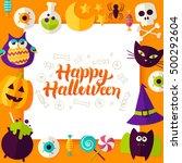happy halloween paper concept.... | Shutterstock .eps vector #500292604