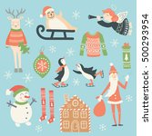 vector set of christmas... | Shutterstock .eps vector #500293954