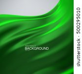 green silk fabric. vector... | Shutterstock .eps vector #500295010