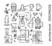 hand drawn flat cartoon coffee...   Shutterstock .eps vector #500298328