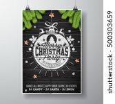 vector merry christmas party... | Shutterstock .eps vector #500303659