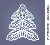 spruce tree cut out of paper ... | Shutterstock .eps vector #500310889