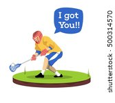 lacrosse player sticker | Shutterstock .eps vector #500314570