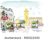 series of the street cafes with ... | Shutterstock .eps vector #500322433