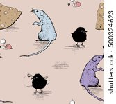 seamless pattern with rat or... | Shutterstock .eps vector #500324623