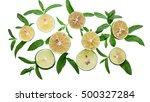 lime background. fresh limes... | Shutterstock . vector #500327284