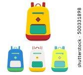 flat backpack set. vector...   Shutterstock .eps vector #500331898