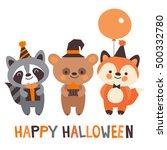 happy halloween. cute animals... | Shutterstock .eps vector #500332780