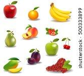 fresh juicy fruit and berries... | Shutterstock . vector #500333899