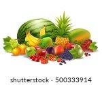 fresh juicy fruit and berries... | Shutterstock .eps vector #500333914