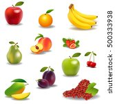 fresh juicy fruit and berries... | Shutterstock .eps vector #500333938