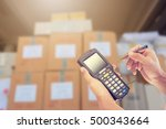 worker checking and scanning... | Shutterstock . vector #500343664