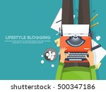 workplace with typewriter. flat ... | Shutterstock .eps vector #500347186