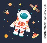 astronaut in outer space  flat... | Shutterstock .eps vector #500347918
