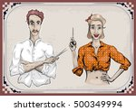 man male hairdresser barber... | Shutterstock .eps vector #500349994