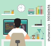programmer working  writing... | Shutterstock .eps vector #500360656