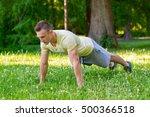 handsome man doing push ups at... | Shutterstock . vector #500366518